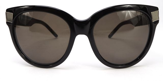 NINA RICCI Black Acetate Frame Gray Lens Oversized Sunglasses w/ Case