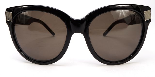 NINA RICCI Black Acetate Frame Gray Lens Oversized Sunglasses w/ Case