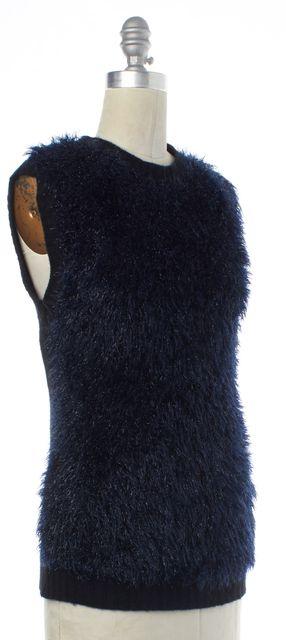 NINA RICCI Navy Blue Black Wool Knit Top