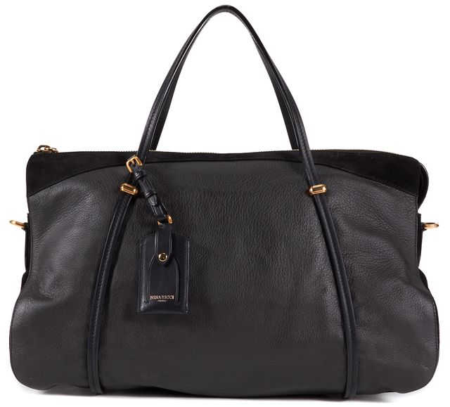 NINA RICCI Black Leather Tote Shoulder Bag