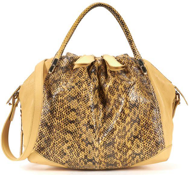 NINA RICCI Yellow Leather Snake Embossed Convertible Crossbody Top Handle Bag