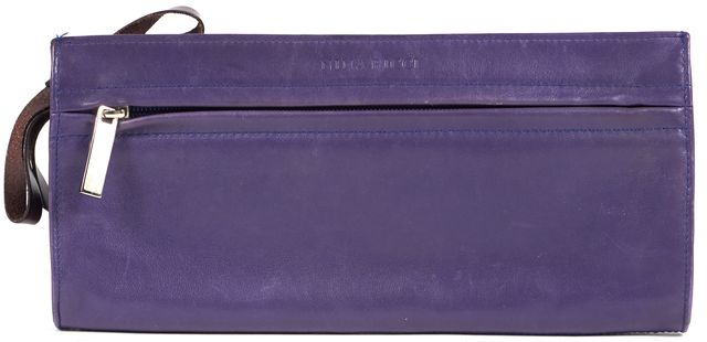 NINA RICCI Purple Brown Leather Bow Tie Embellished Zip Clutch