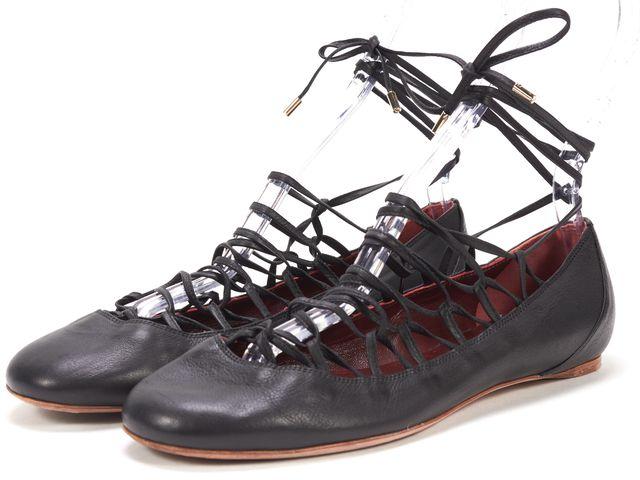 NINA RICCI Black Leather Lace Up Ballet Flats