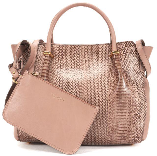 NINA RICCI Taupe Beige Leather Snakeskin Le Marche Shoulder Bag