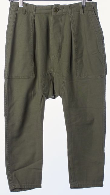 NLST Green Cotton Cropped Harem Cargo Style Casual Pants