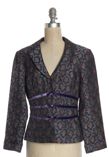 NANETTE LEPORE Gray Purple Floral Jacquard Blazer Jacket