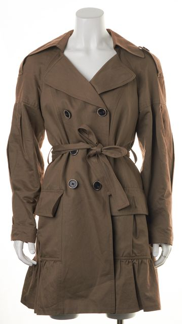 NANETTE LEPORE Brown Button Down Belt Wrap Basic Jacket
