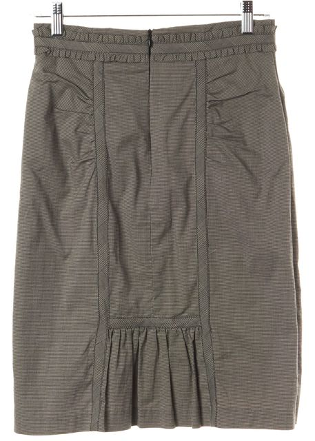 NANETTE LEPORE Gray Black Abstract Cotton Blend Straight Pencil Skirt