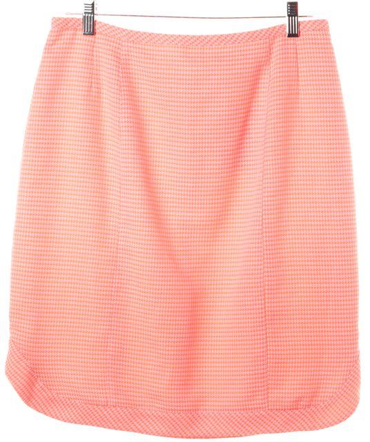 NANETTE LEPORE Orange White Knee Length Houndstooth Straight Skirt