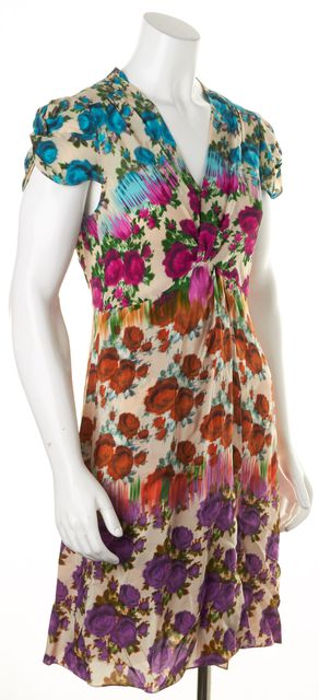 NANETTE LEPORE Beige Purple Floral Silk Empire Waist Dress