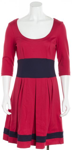NANETTE LEPORE Red Navy Blue Trim Pleated Detail Fit & Flare Dress