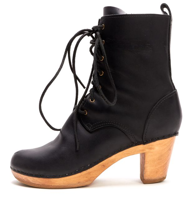 NO. 6 Black Leather Wooden Platform Lace-Up Casual Ankle Boots