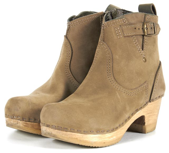 NO. 6 Gray Green Suede Clog Ankle Boots