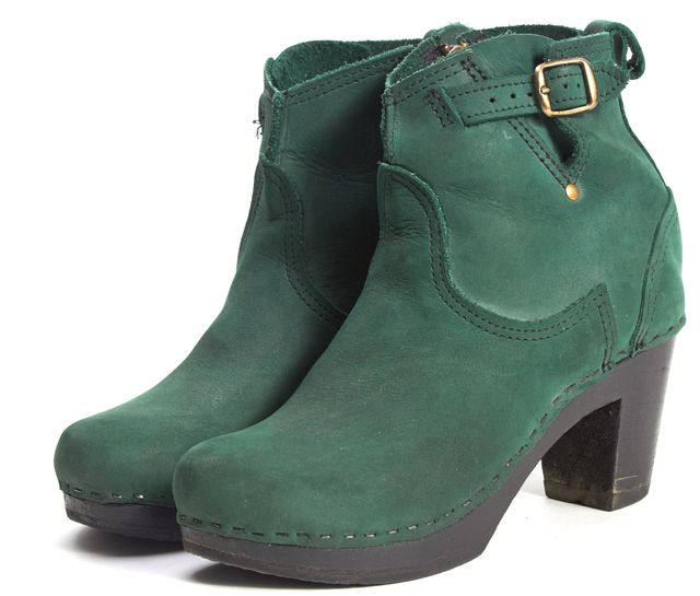 NO. 6 Forest Green Suede Platform Ankle Boots