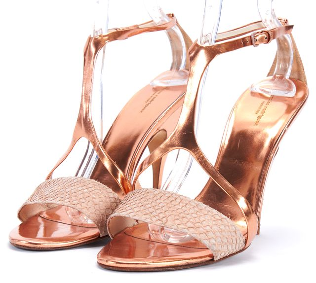 NARCISO RODRIGUEZ Rose Gold Embossed Leather Strappy Heel Sandals