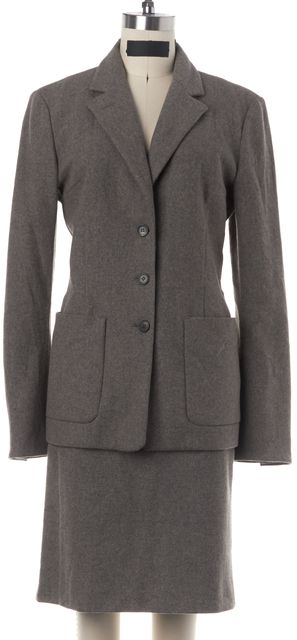NARCISO RODRIGUEZ Gray Wool Pocket Blazer Skirt Suit Casual Career Set