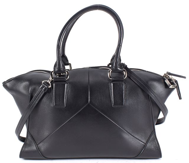NARCISO RODRIGUEZ Black Silver Tone Hardware Leather Top Handle Satchel Bag
