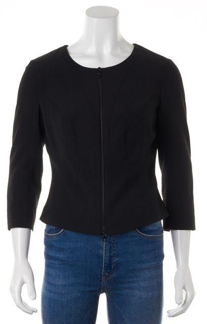 NARCISO RODRIGUEZ Black Wool Zip Up Basic Suit Jacket