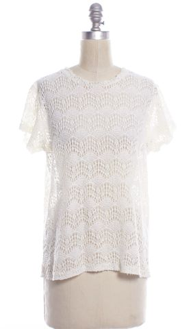 NSF White Lace Cap Sleeve Crewneck Crochet Basic Tee Top