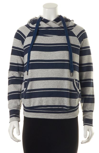 NSF Gray Navy Blue Striped Pull Over Hooded Sweatshirt Sweater