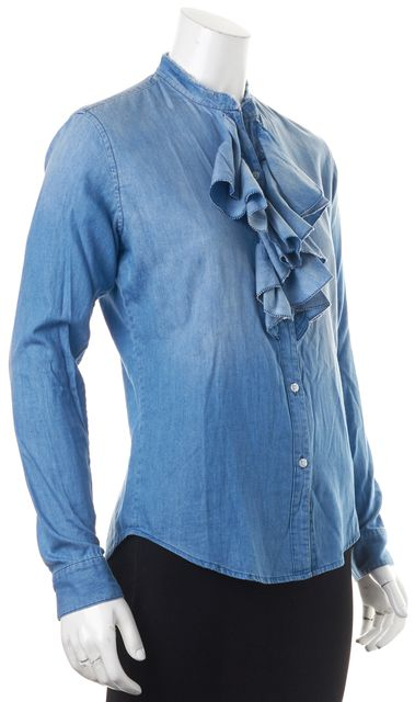 NSF Blue Cotton Chambray Long Sleeve Ruffle Trim Button Down Blouse Top