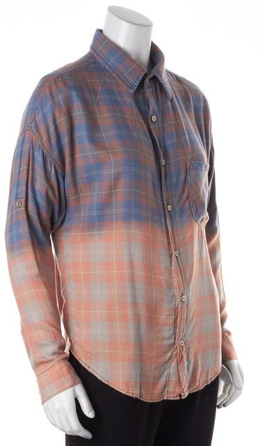 NSF Pink Blue Plaid Button Down Shirt