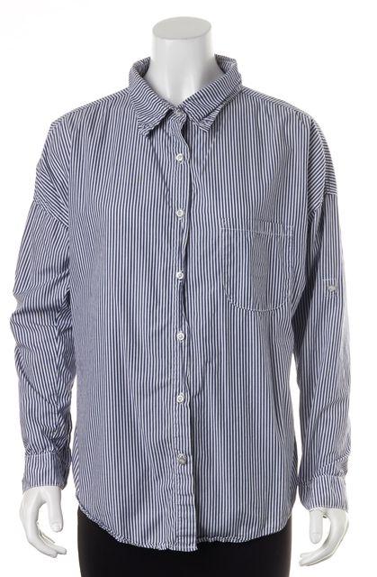 NSF Blue Striped Long Sleeve Button Down Shirt Top