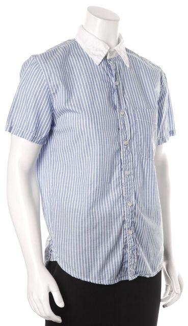 NSF Blue White Striped Short Sleeve Button Down Shirt Top