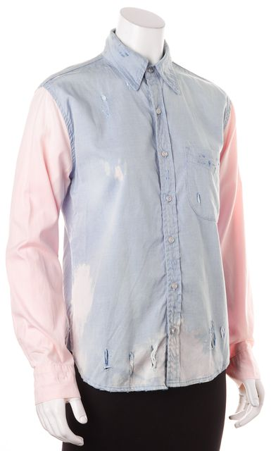 NSF Light Blue Pink Color-Block Distressed Bleached Button-Down Shirt