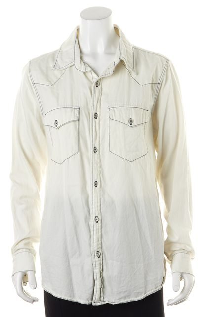 NSF White Cotton Contrast Navy Stitch Detail Button Down Shirt