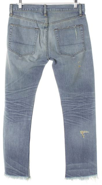 NSF Blue Light Wash Distressed Button Fly Straight Slim Leg Jeans