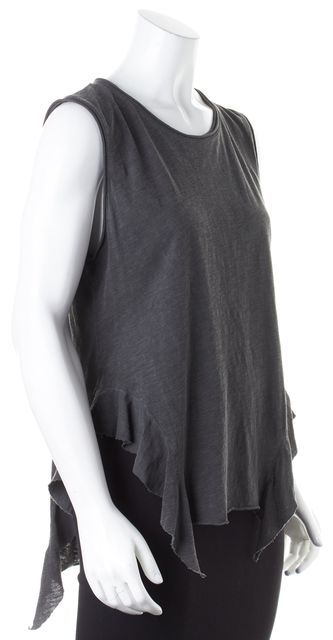 NSF Dark Gray Cotton Distressed Asymmetrical Tank Top