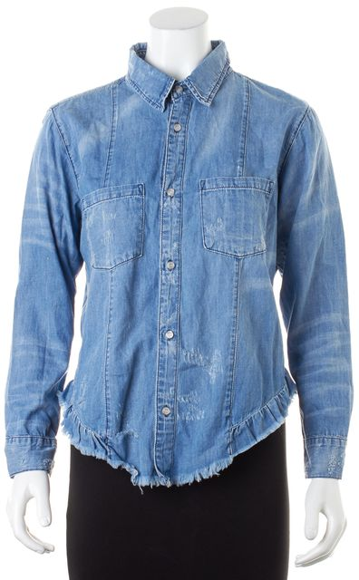 NSF Blue Distressed Cotton Chambray Long Sleeve Button Down Shirt Top