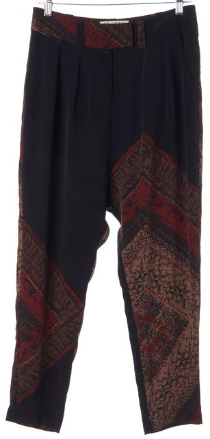 STONE COLD FOX Black Red Silk Cropped Trouser Dress Pants