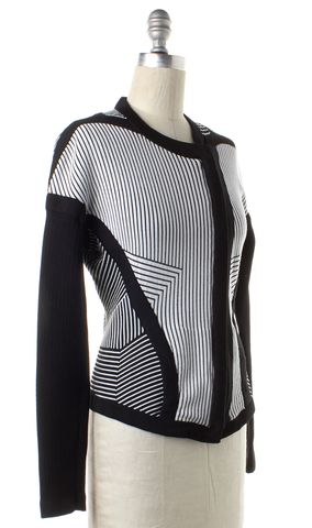 OHNE TITEL Black White Striped Stretch Knit Zip Up Jacket Size S