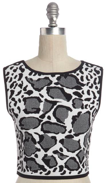 OHNE TITEL White Black Gray Leopard Print Knit Top