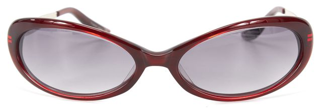 OLIVER PEOPLES Red Acetate Faith Oval Sunglasses