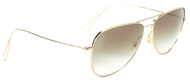 OLIVER PEOPLES Gold Wire Frame Green Gradient Aviator Sunglasses
