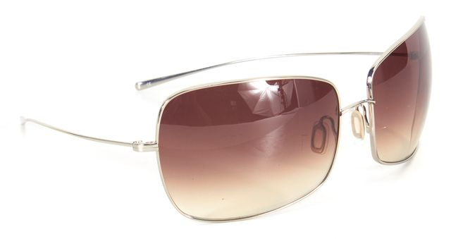 OLIVER PEOPLES Brown Silver Thin Frame Gradient Lens Rectangular Sunglasses