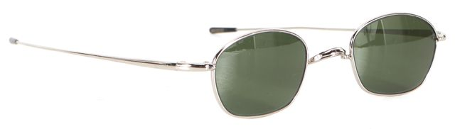 OLIVER PEOPLES Silver Wire Frame Green Lens Small Round Sunglasses
