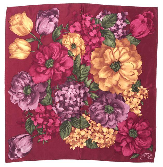 OSCAR BY OSCAR DE LA RENTA BurgundyMulti-color Floral Silk Bandana Scarf