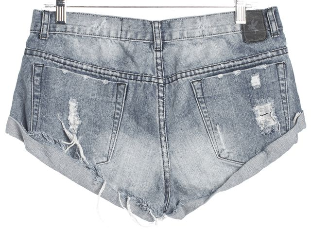 ONE BY ONE TEASPOON Blue Distressed Fringe Detail Denim Shorts