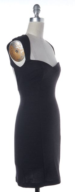 OPENING CEREMONY Gray Striped Wool Cutout Bodycon Dress
