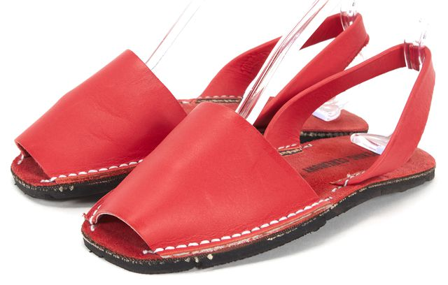 OPENING CEREMONY Red Leather Open Toe Sandal Flats