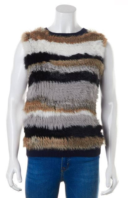 OPENING CEREMONY Navy Blue Wool Multi-Color Rabbit Fur Sleeveless Sweater