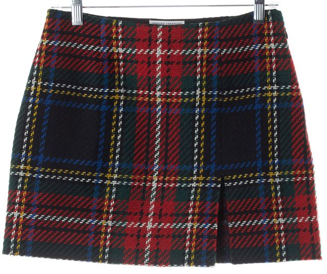 OPENING CEREMONY Red Multi Woven Plaid Front Slit Mini Skirt