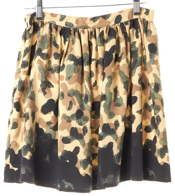 OPENING CEREMONY Beige Green Abstract Camouflage Silk Mini Skirt