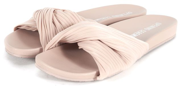 OPENING CEREMONY Beige Twist Fabric Flat Slip-On Sandals