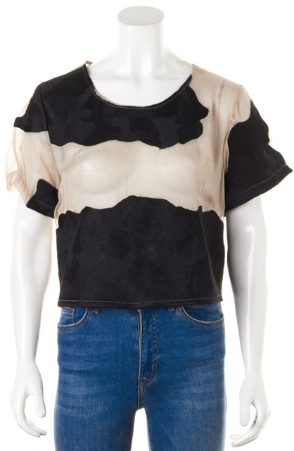 OPENING CEREMONY Ivory Black Embroidered Semi Sheer Silk Blouse