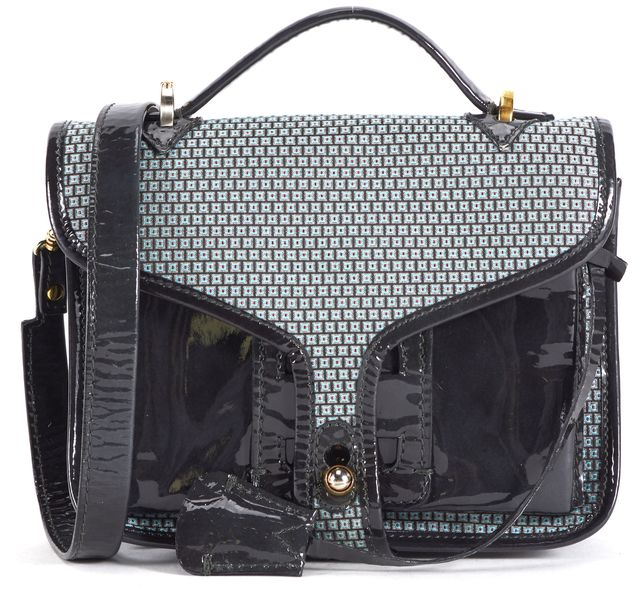 OPENING CEREMONY Green Gray Pink Geometric Patent Leather Crossbody Bag